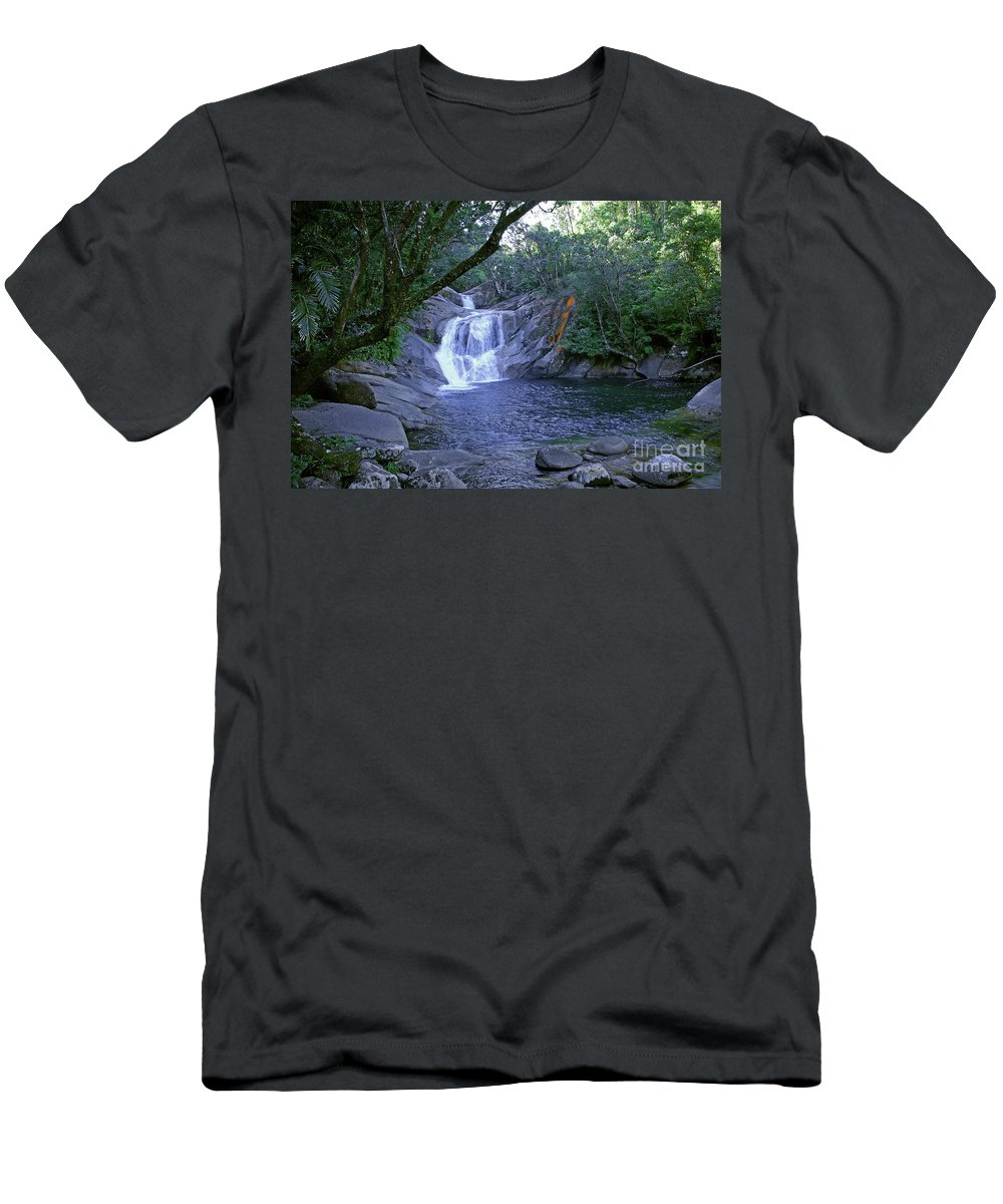 Tropical Men's T-Shirt (Athletic Fit) featuring the photograph Josephine Falls And Tropical Pool by Kerryn Madsen- Pietsch