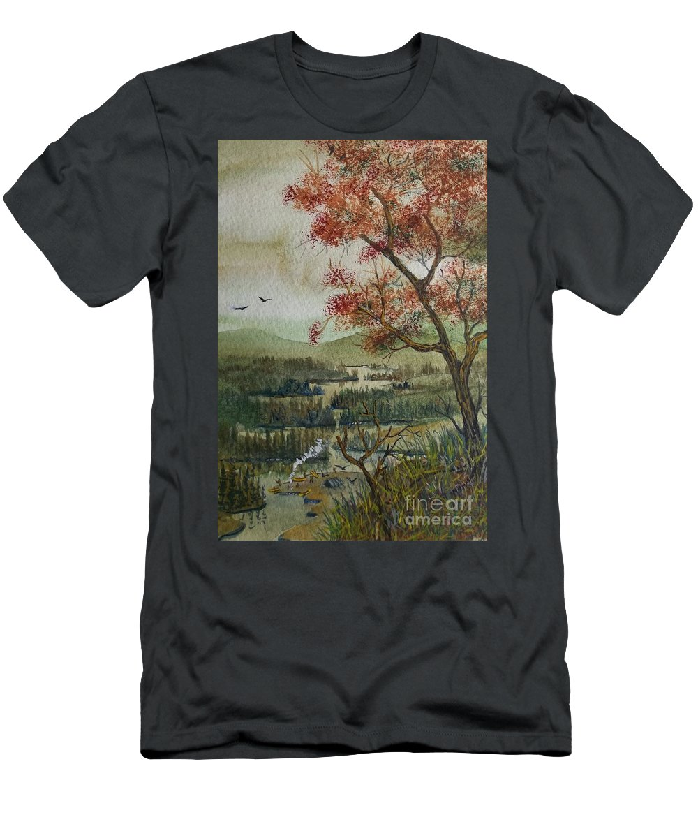 Camping Men's T-Shirt (Athletic Fit) featuring the painting Kayak Camping by Don Hand