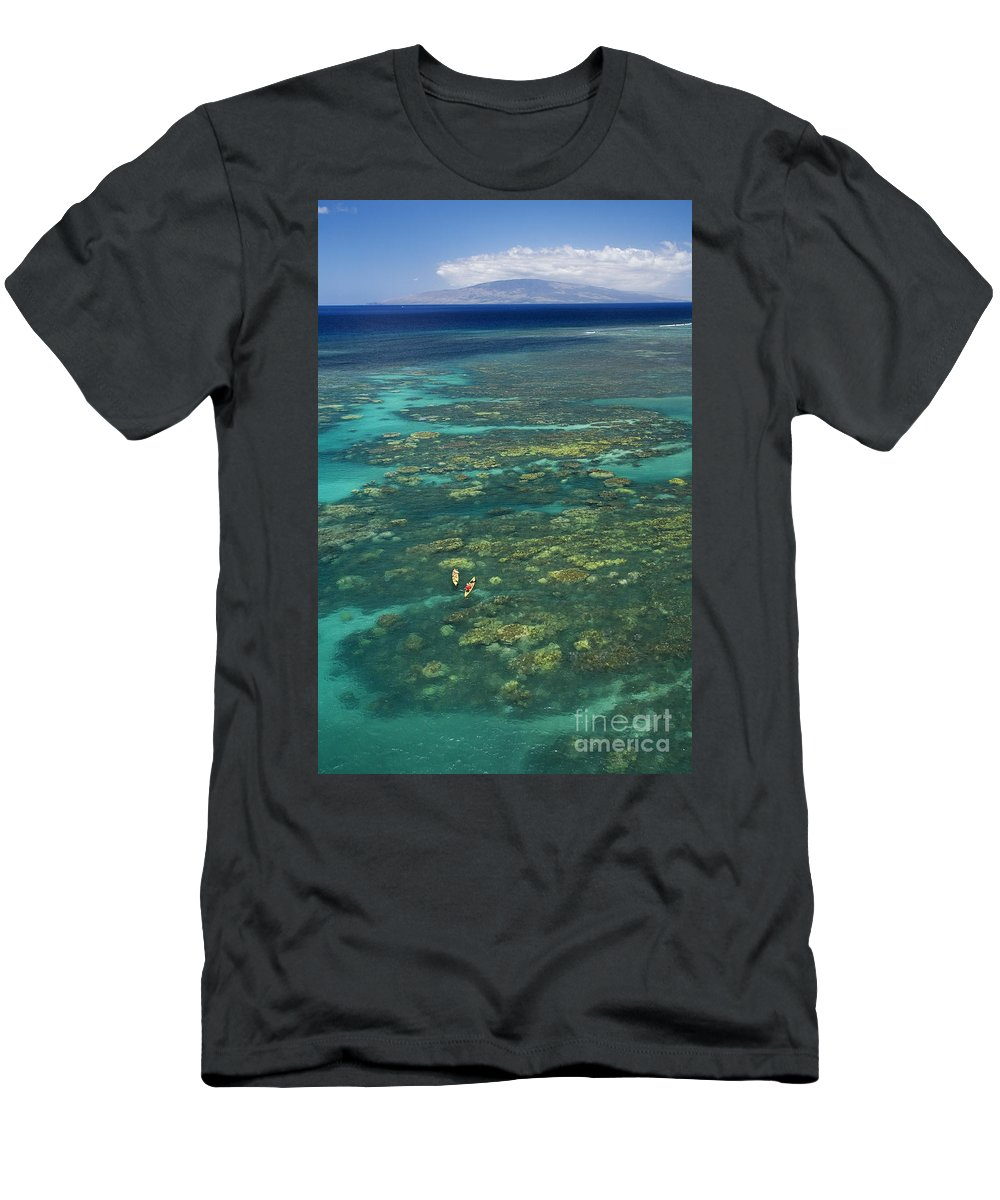 Above Men's T-Shirt (Athletic Fit) featuring the photograph Kayaking Through Beautiful Coral by Ron Dahlquist - Printscapes