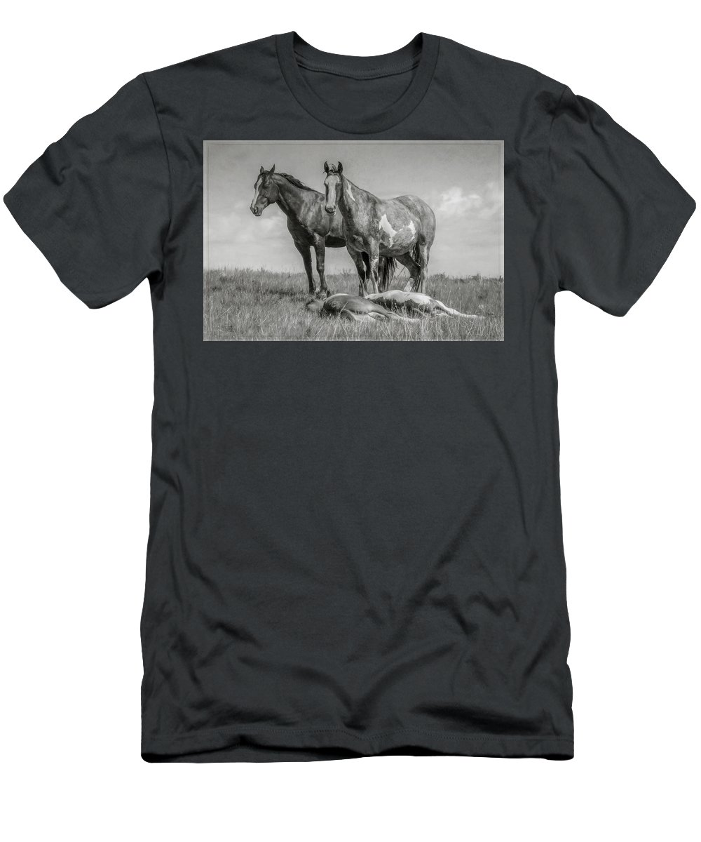 Wild Men's T-Shirt (Athletic Fit) featuring the mixed media Keeping Watch by Teresa Wilson