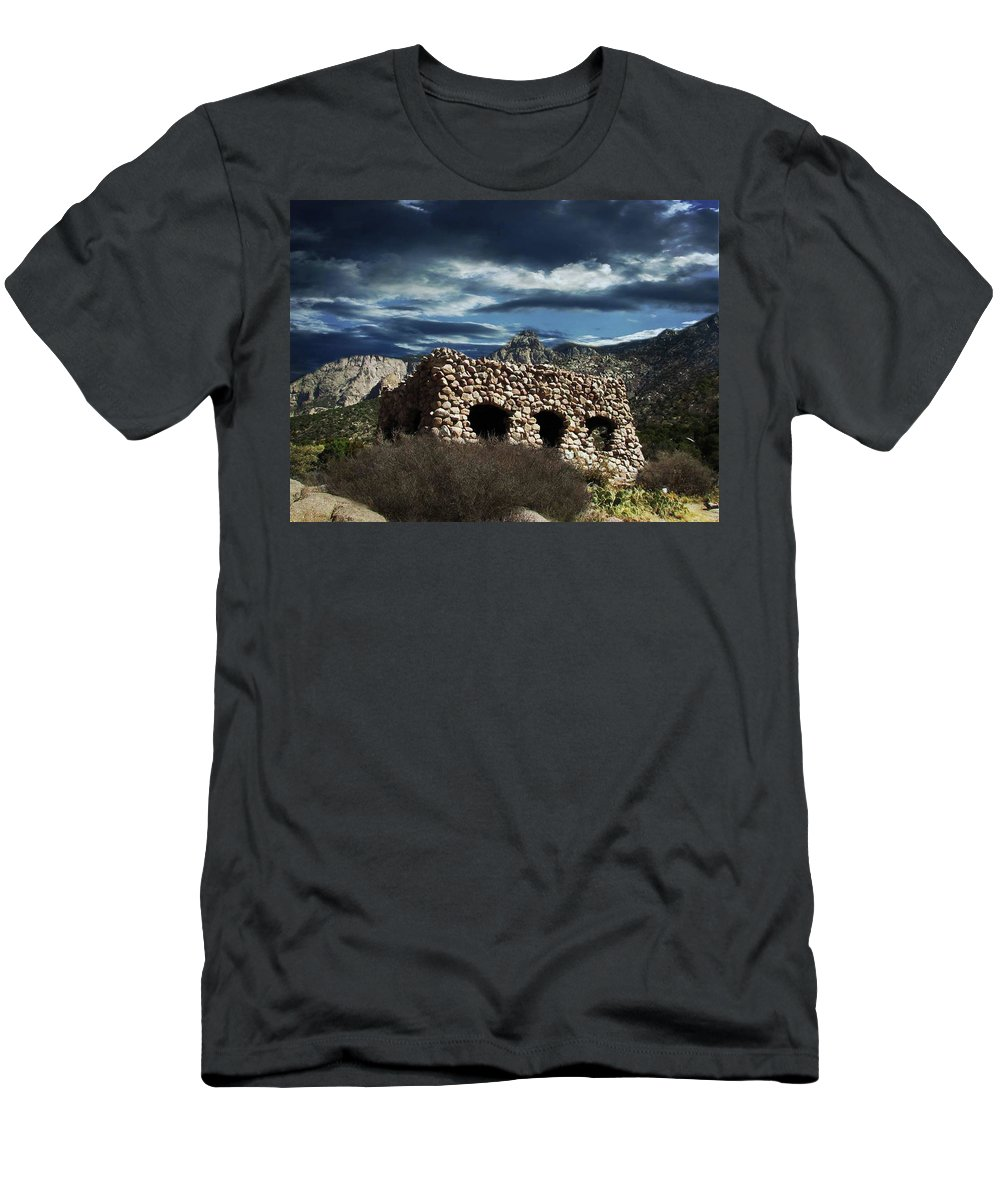 La Luz Men's T-Shirt (Athletic Fit) featuring the photograph La Luz Rock House by Keith Peacock