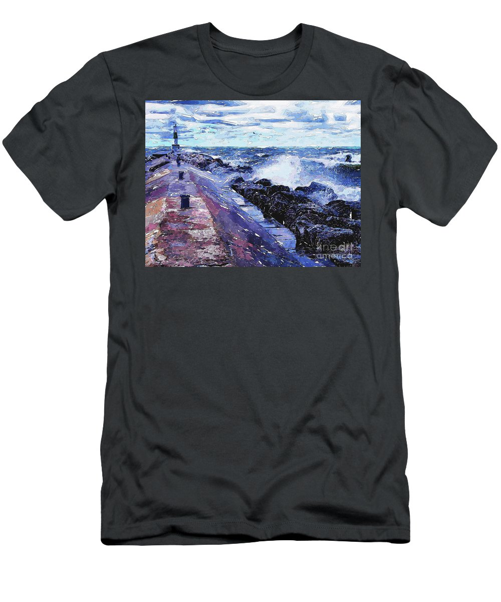 Holland Men's T-Shirt (Athletic Fit) featuring the digital art Lake Michigan Waves by Phil Perkins