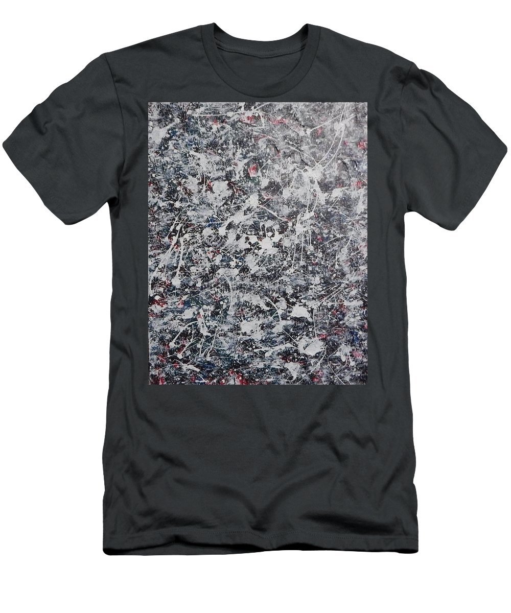 Snow Winter Pollack Style Men's T-Shirt (Athletic Fit) featuring the painting Winter by Dennis Young