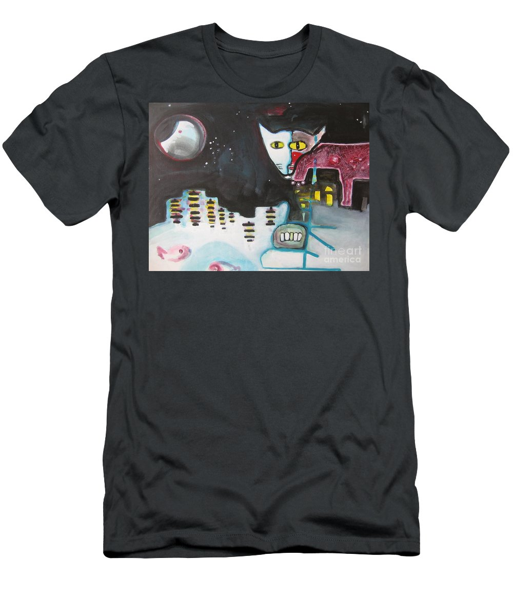 Cat Paintings Men's T-Shirt (Athletic Fit) featuring the painting Let Me Out3 by Seon-Jeong Kim