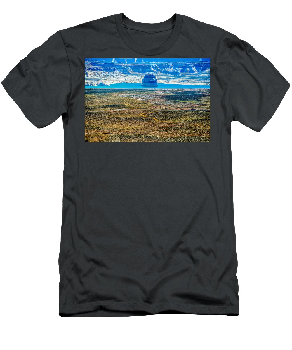 Arizona Men's T-Shirt (Athletic Fit) featuring the photograph Lone Rock In Lake Powell Utah by Alex Grichenko