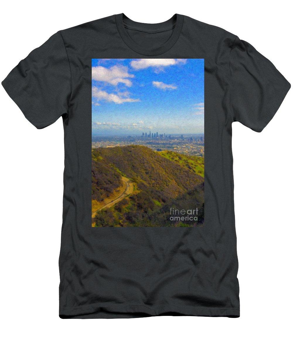 Los Angeles Ca Skyline Hollywood Runyon Canyon Hiking Trail Men's T-Shirt (Athletic Fit) featuring the photograph Los Angeles Ca Skyline Runyon Canyon Hiking Trail by David Zanzinger