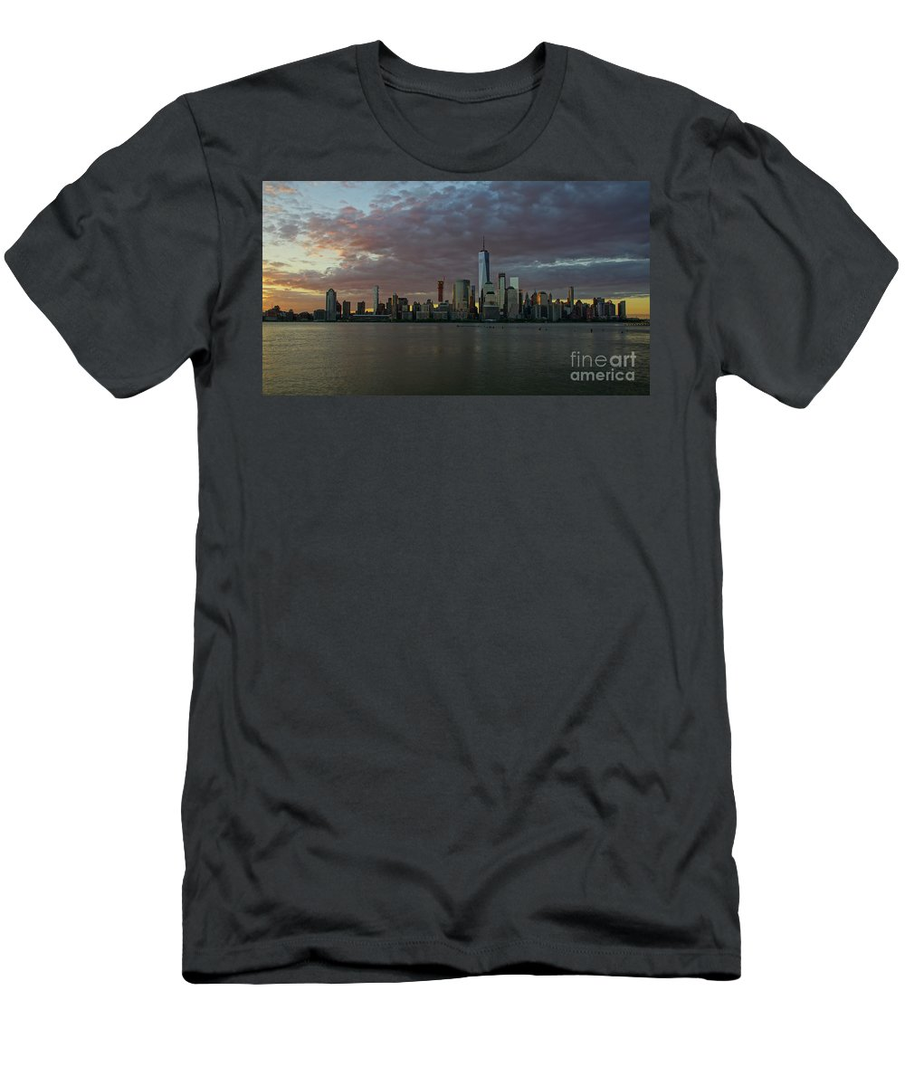 Hudson River Men's T-Shirt (Athletic Fit) featuring the photograph Lower Manhattan by Brian Kamprath