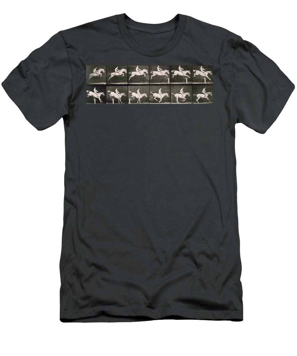 Muybridge Men's T-Shirt (Athletic Fit) featuring the photograph Man And Horse Jumping A Fence by Eadweard Muybridge