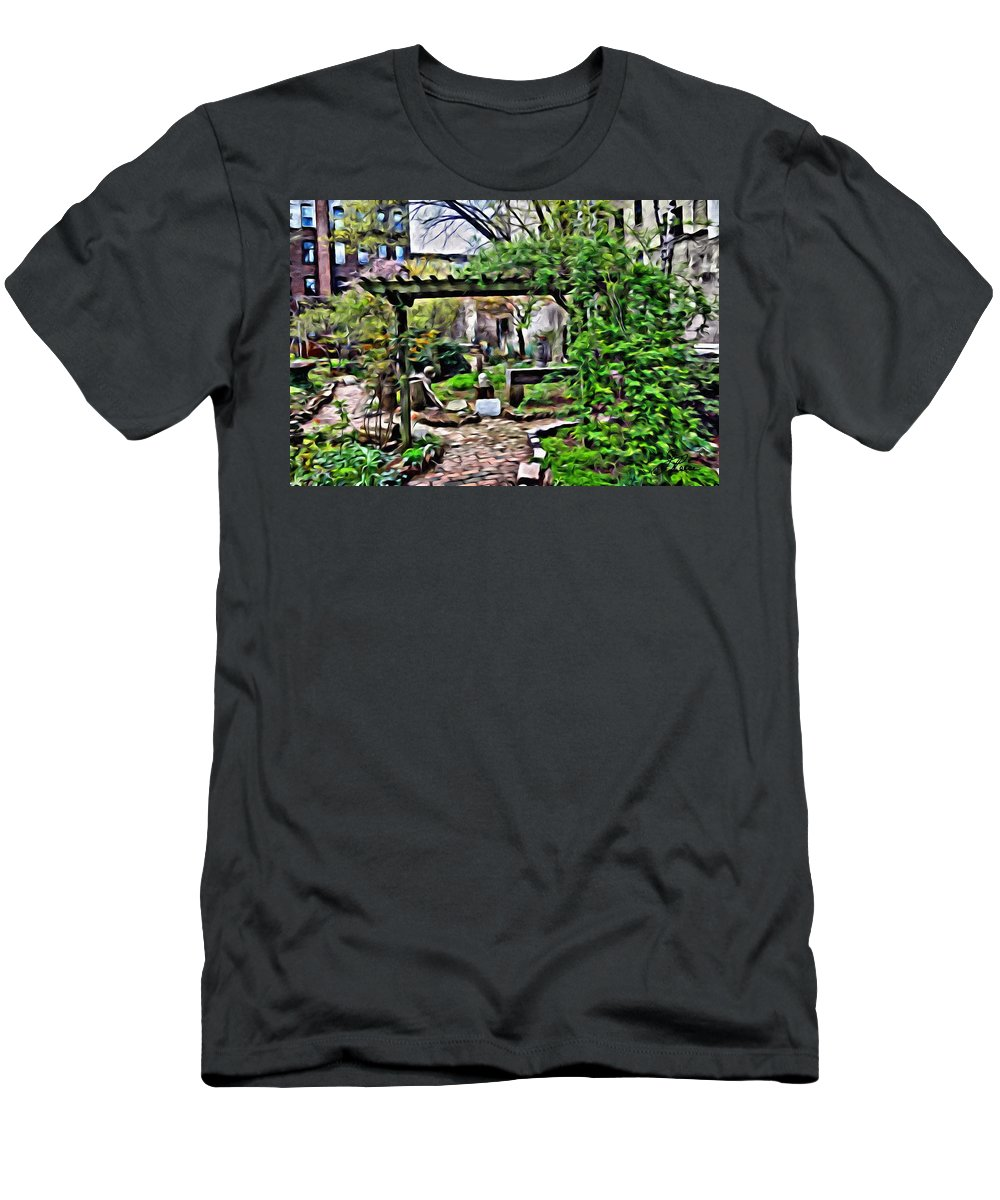 New York City Buildings Men's T-Shirt (Athletic Fit) featuring the photograph Manhattan Community Garden by Joan Reese