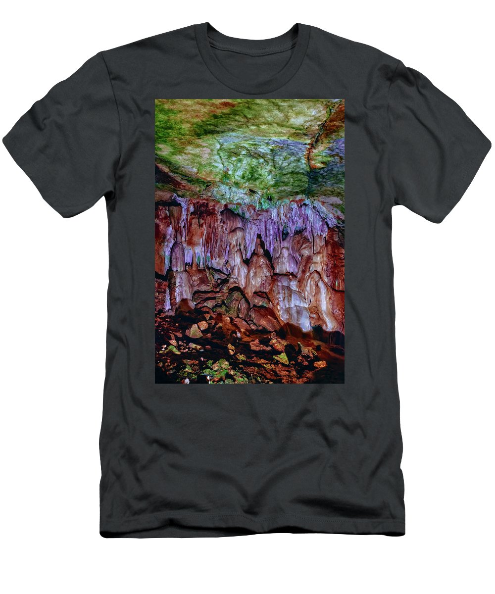 Cave Men's T-Shirt (Athletic Fit) featuring the photograph Marble Cave Crimea by Sergey Nosov