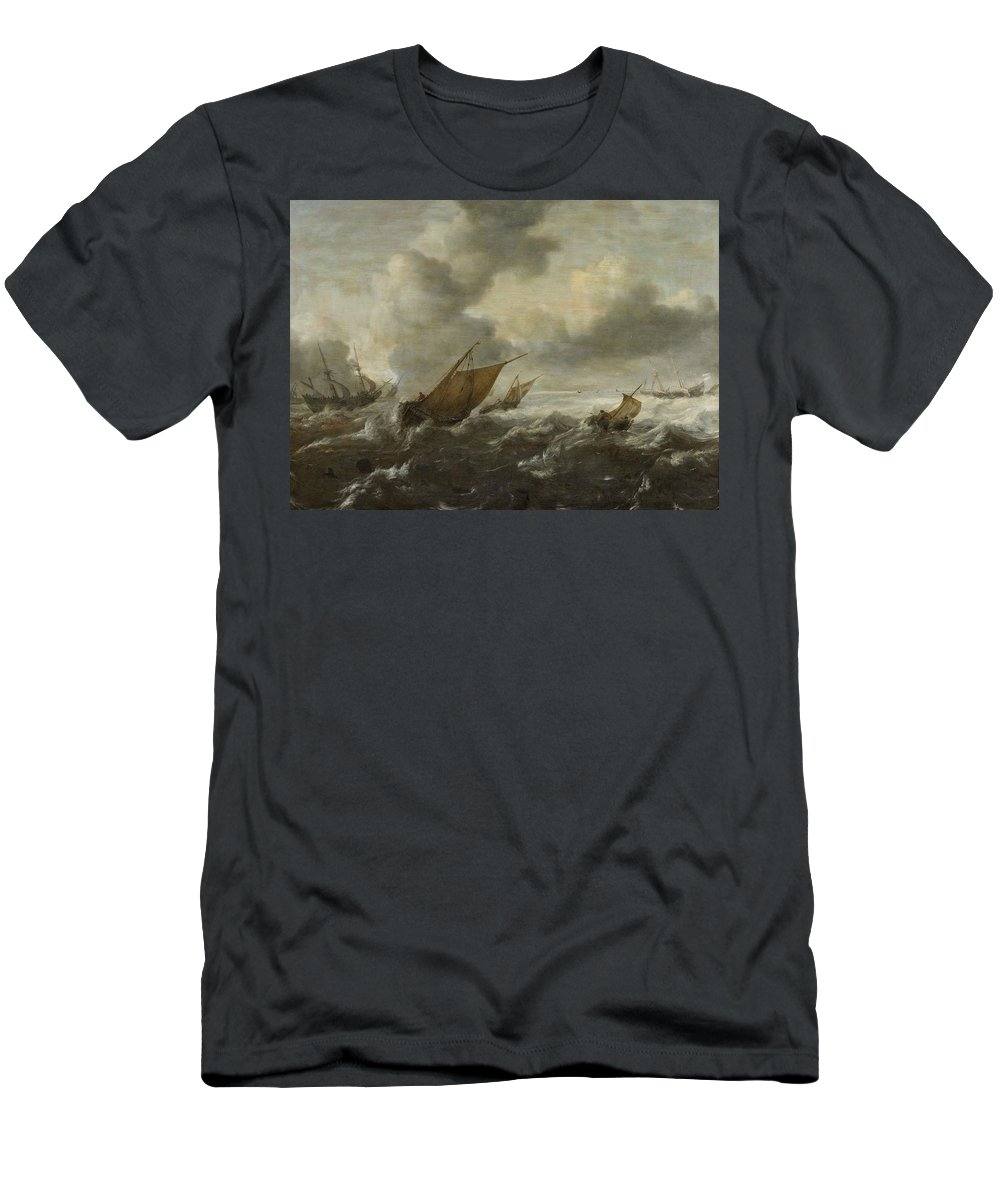 Abraham Van Beyeren Men's T-Shirt (Athletic Fit) featuring the painting Maritime Scene With Stormy Seas by Abraham van