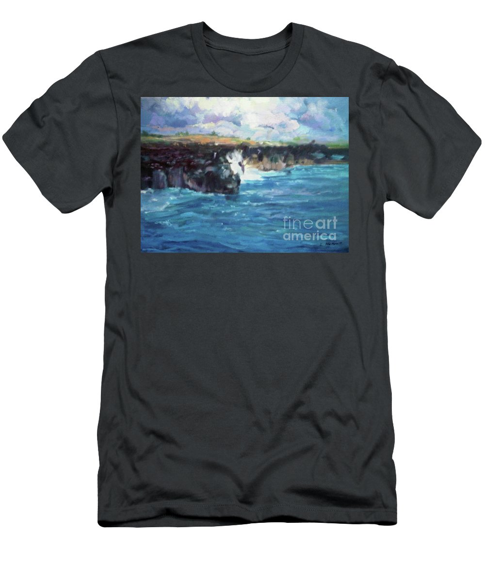 Maui Rocky Coast Men's T-Shirt (Athletic Fit) featuring the painting Maui by Lisa McKnett