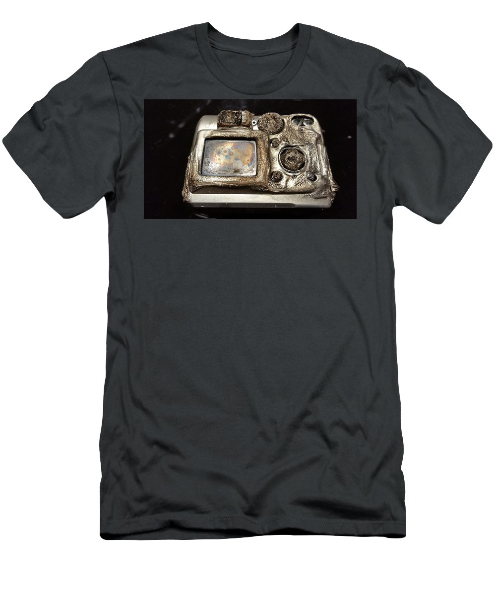 Carmine Taverna Men's T-Shirt (Athletic Fit) featuring the photograph Melted Camera by Carmine Taverna