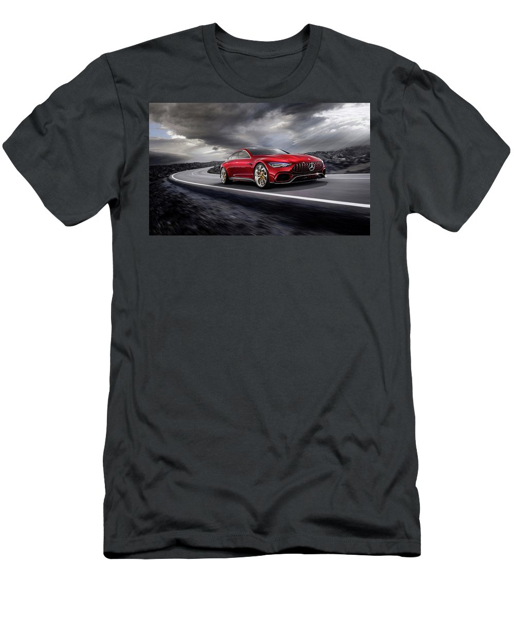 Mercedes Men's T-Shirt (Athletic Fit) featuring the photograph Mercedes A M G  G T by Movie Poster Prints