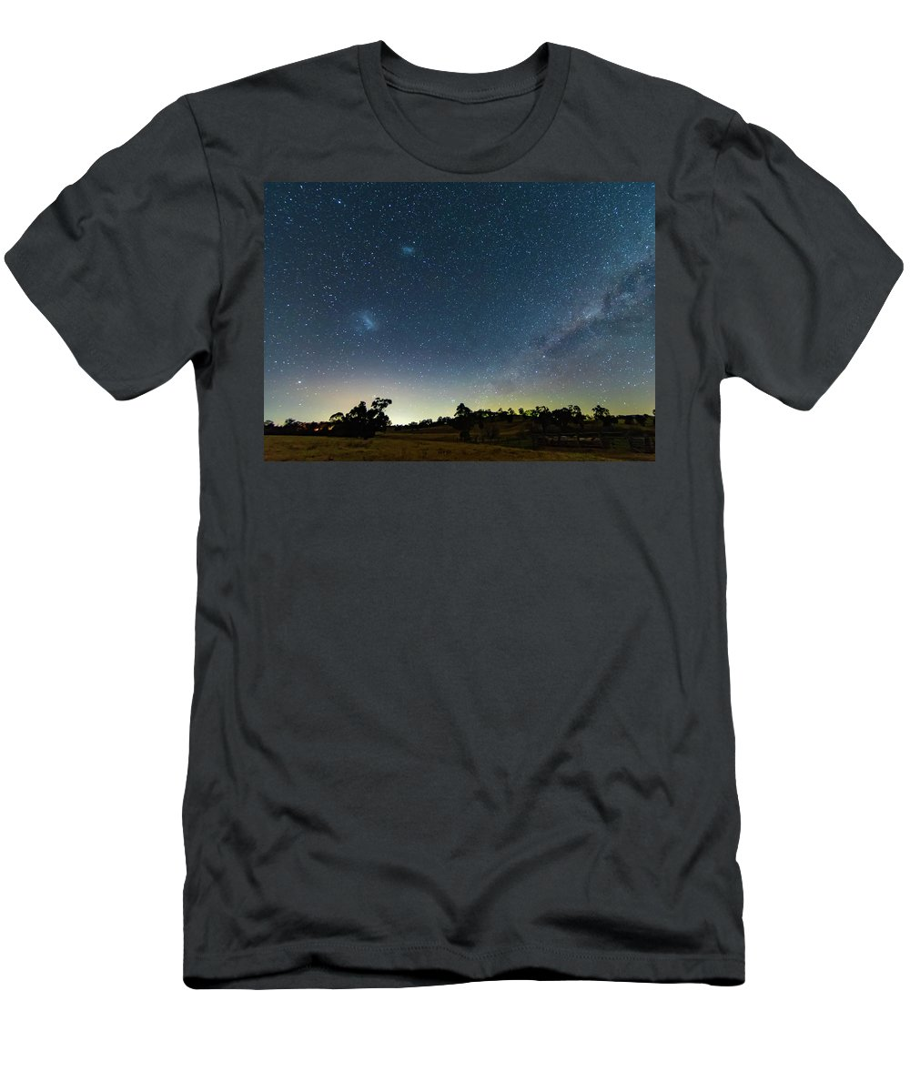 Astro Men's T-Shirt (Athletic Fit) featuring the photograph Milky Way And Countryside by Merrillie Redden