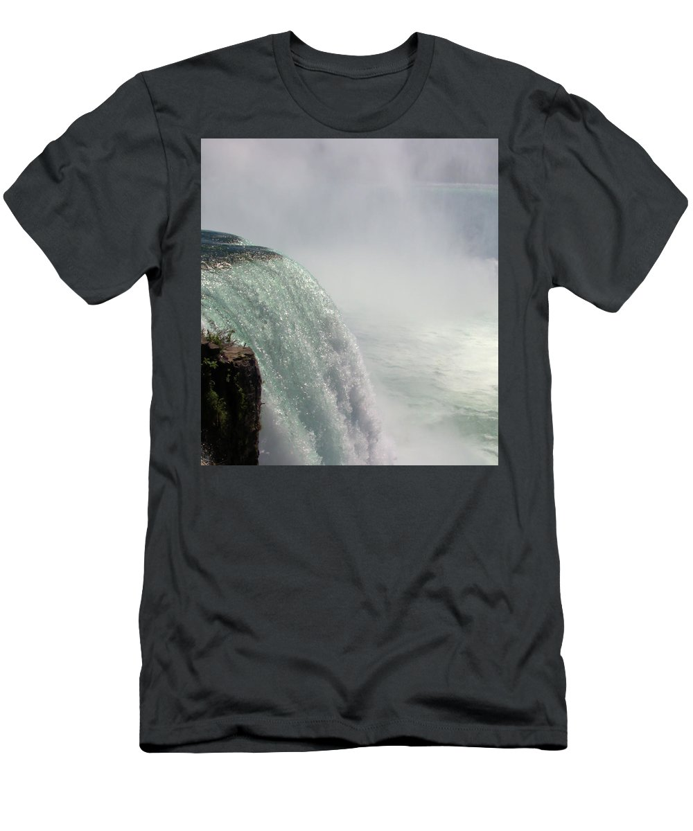 Horseshoe Falls Men's T-Shirt (Athletic Fit) featuring the photograph Mist Over Horseshoe Falls by Robert McCulloch