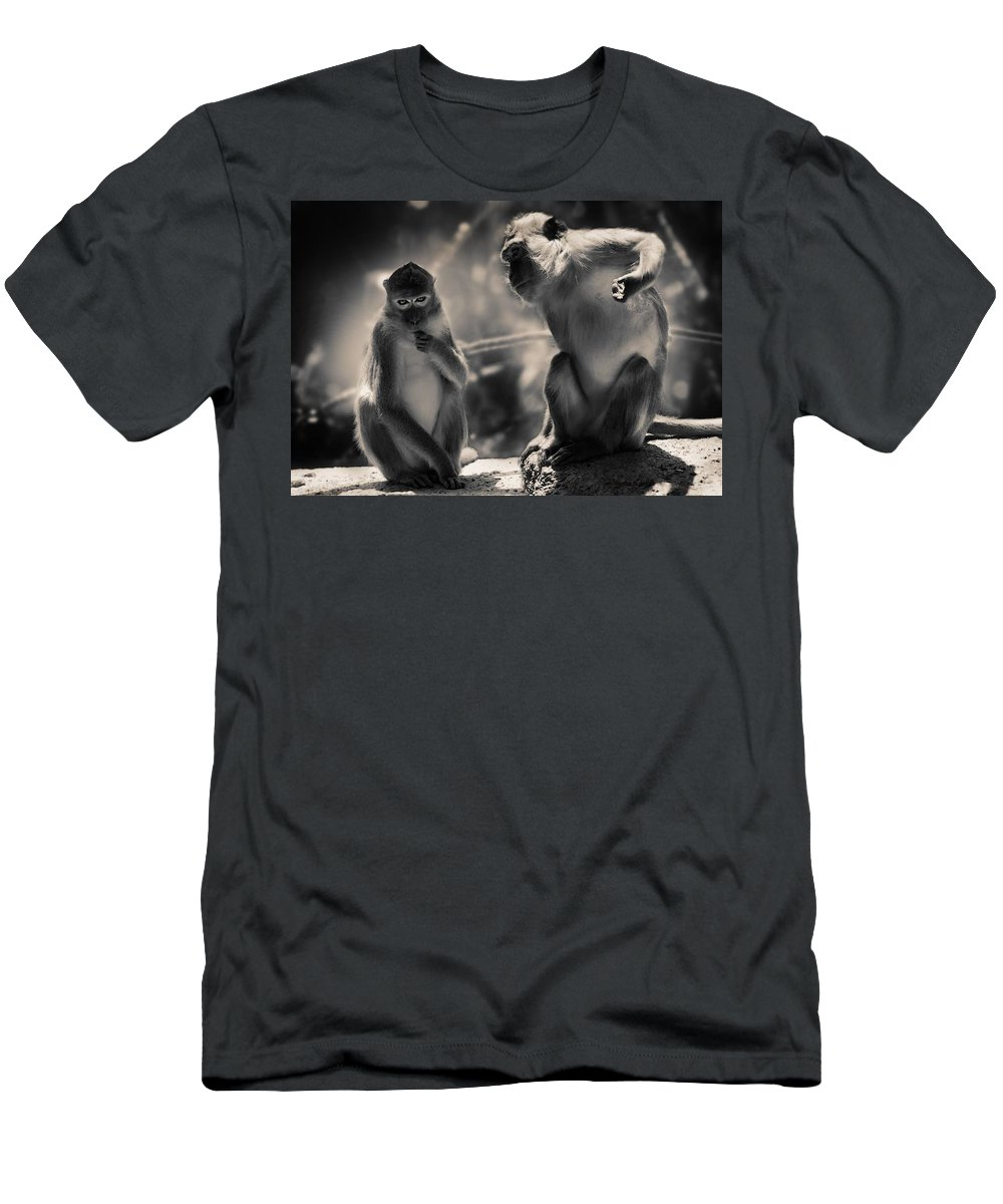 Monkeys Men's T-Shirt (Athletic Fit) featuring the photograph Monkeys by FL collection