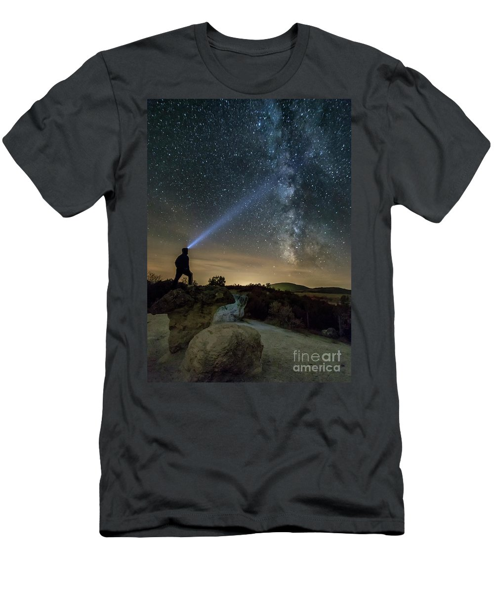 Adventure Men's T-Shirt (Athletic Fit) featuring the photograph Mushroom Rocks Phenomenon Under The Night Sky by Nikolay Stoimenov