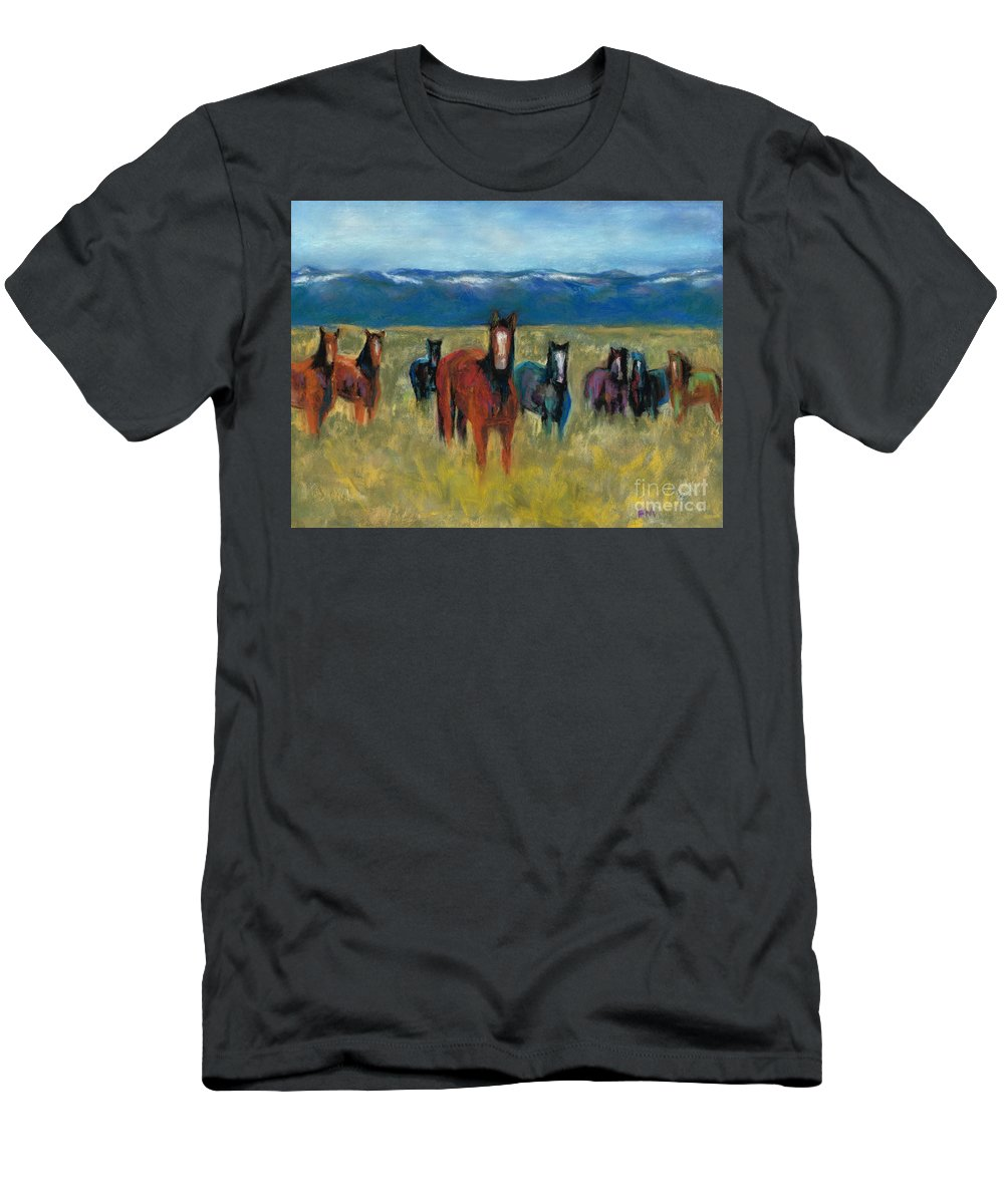 Mustangs Men's T-Shirt (Athletic Fit) featuring the painting Mustangs In Southern Colorado by Frances Marino