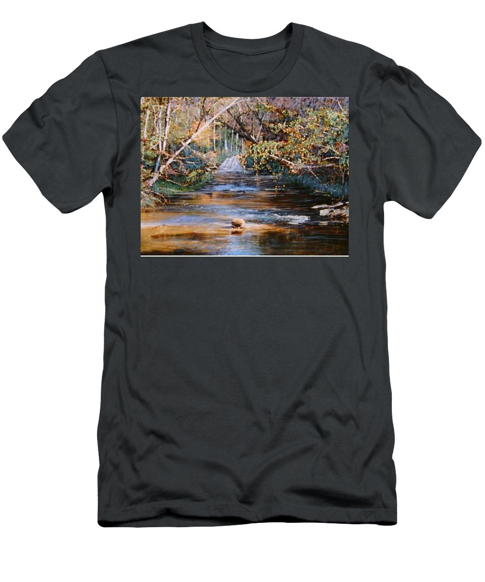 River; Waterfalls T-Shirt featuring the painting My Secret Place by Ben Kiger