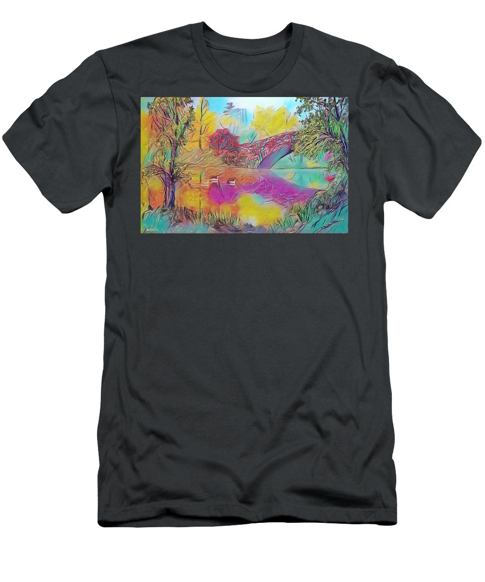Centralpark Men's T-Shirt (Athletic Fit) featuring the painting New York In Fall by Michael Mrozik