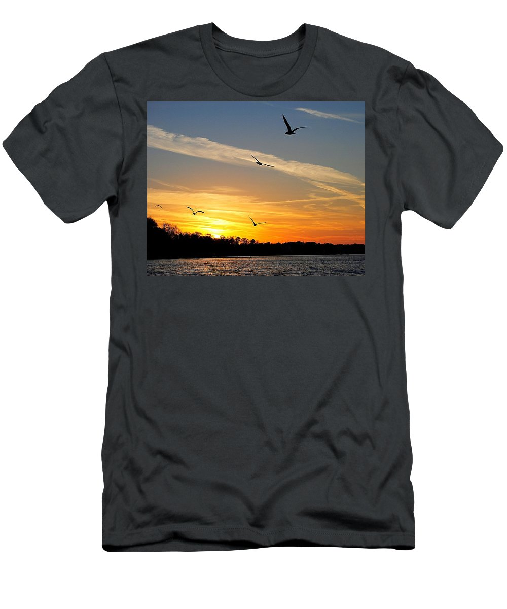 Lake Men's T-Shirt (Athletic Fit) featuring the photograph November Sunset by Frozen in Time Fine Art Photography