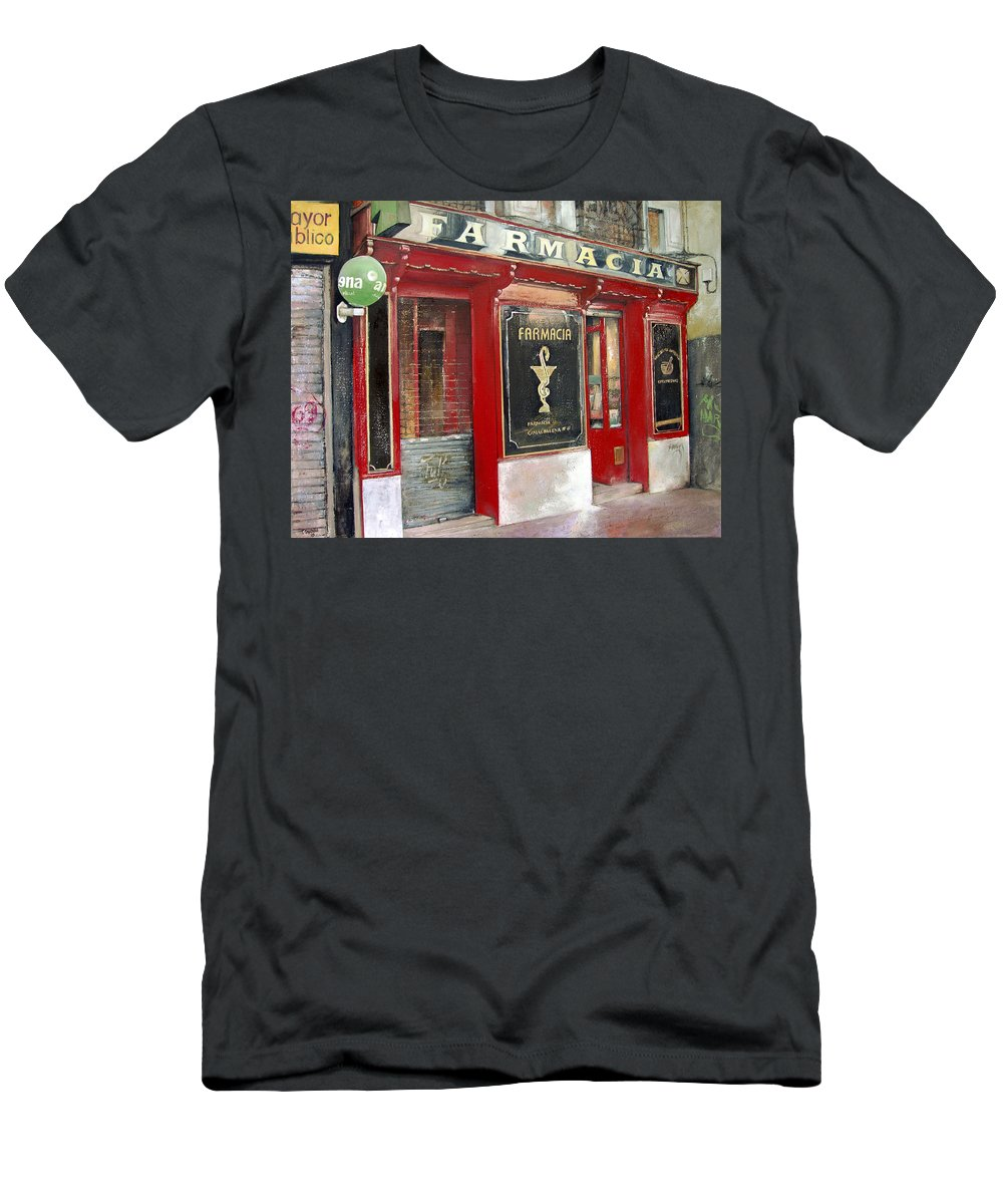 Farmacia T-Shirt featuring the painting Old Pharmacy by Tomas Castano