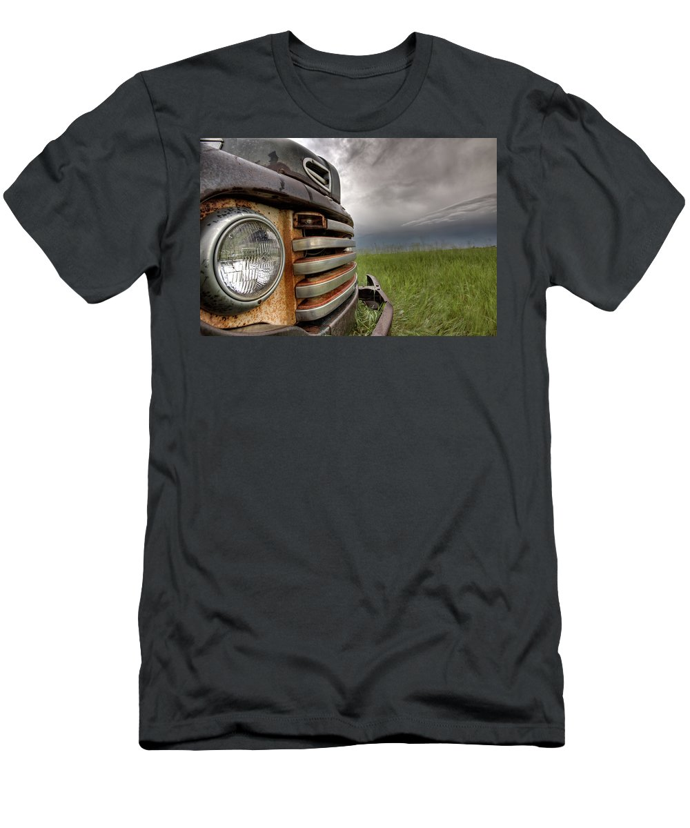 Transportation Men's T-Shirt (Athletic Fit) featuring the digital art Old Vintage Truck On The Prairie by Mark Duffy