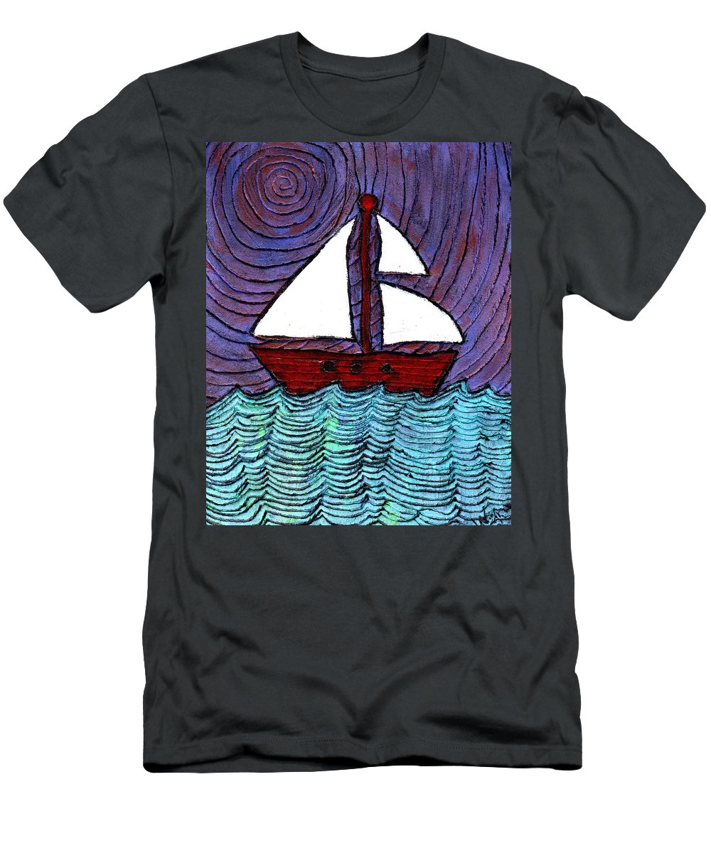 River Men's T-Shirt (Athletic Fit) featuring the painting On The River by Wayne Potrafka