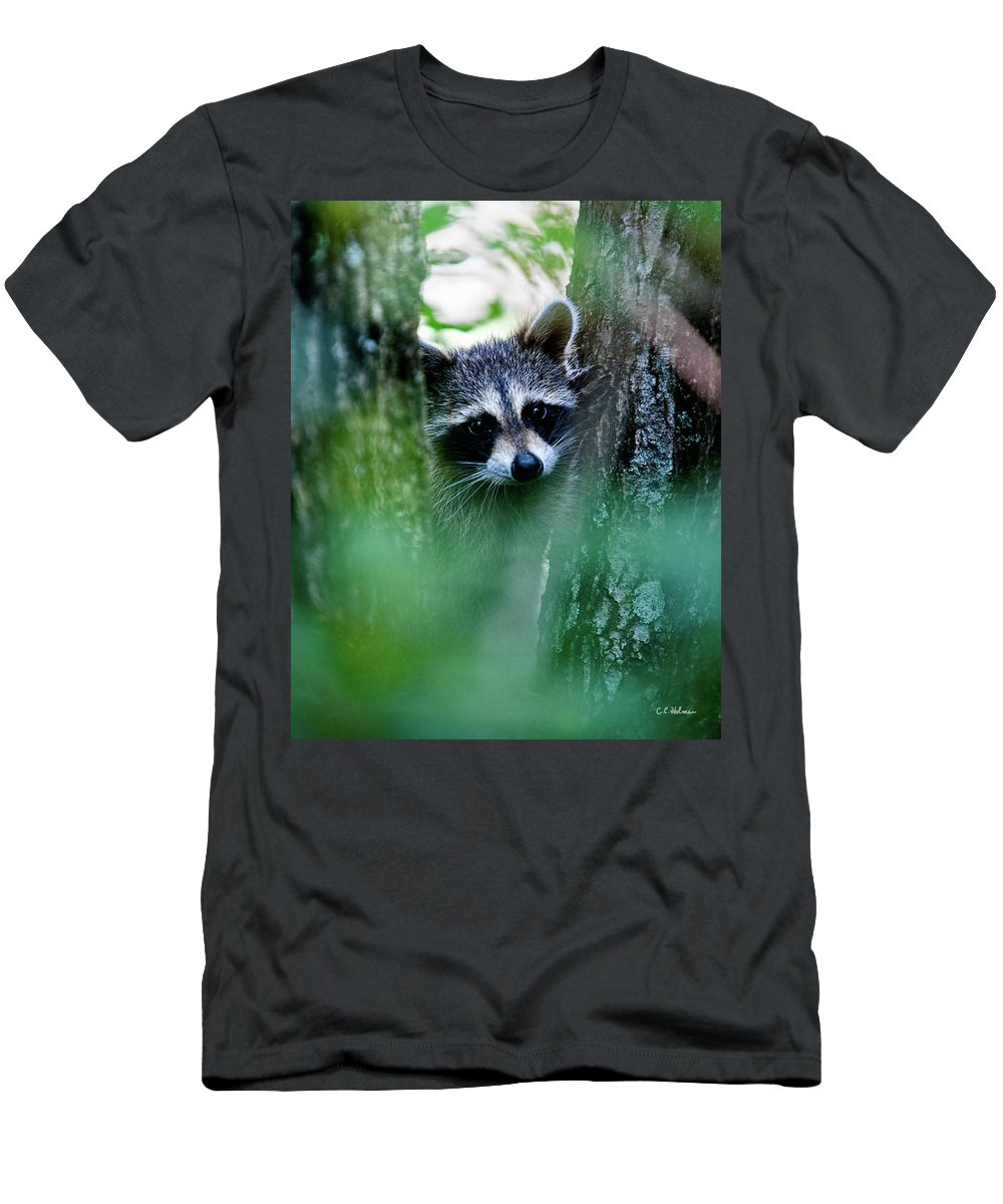Racoon Men's T-Shirt (Athletic Fit) featuring the photograph On Watch by Christopher Holmes