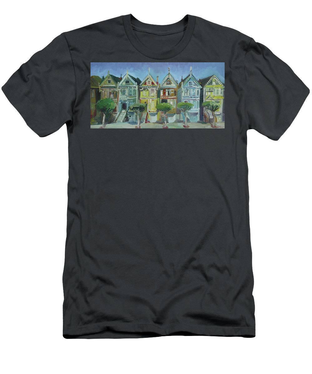 San Fransisco Men's T-Shirt (Athletic Fit) featuring the painting Painted Ladies by John Kilduff