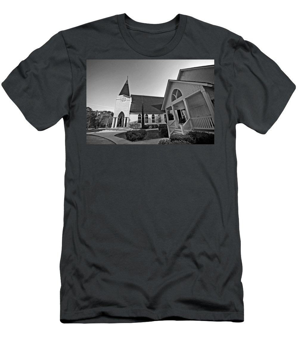Church Men's T-Shirt (Athletic Fit) featuring the painting Point Clear Alabama St. Francis Church by Michael Thomas