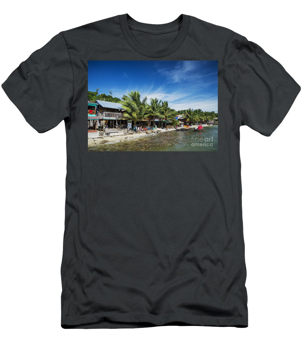 Asia Men's T-Shirt (Athletic Fit) featuring the photograph Polluted Dirty Beach With Garbage Rubbish In Koh Rong Island Cam by Jacek Malipan