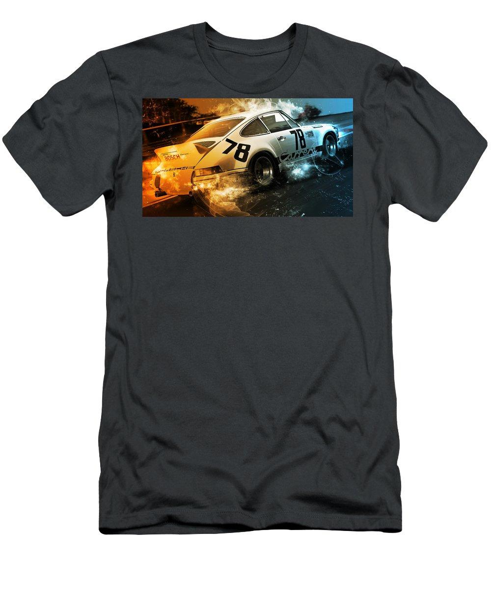 Porsche Rsr Men's T-Shirt (Athletic Fit) featuring the digital art Porsche Carrera Rsr, 1973 - 20 by Andrea Mazzocchetti