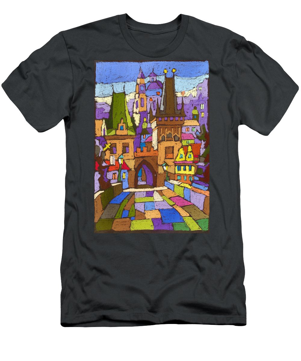 Pastel Men's T-Shirt (Athletic Fit) featuring the painting Prague Charles Bridge 01 by Yuriy Shevchuk