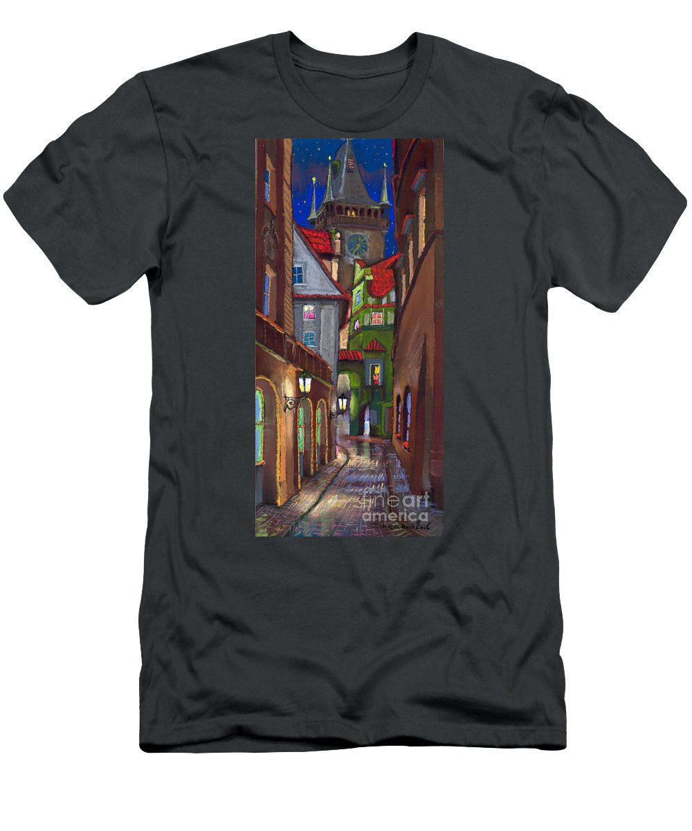 Pastel T-Shirt featuring the painting Prague Old Street by Yuriy Shevchuk