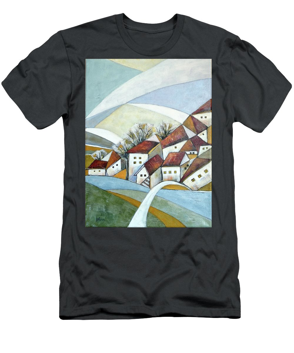 Abstract Men's T-Shirt (Athletic Fit) featuring the painting Quiet Village by Aniko Hencz