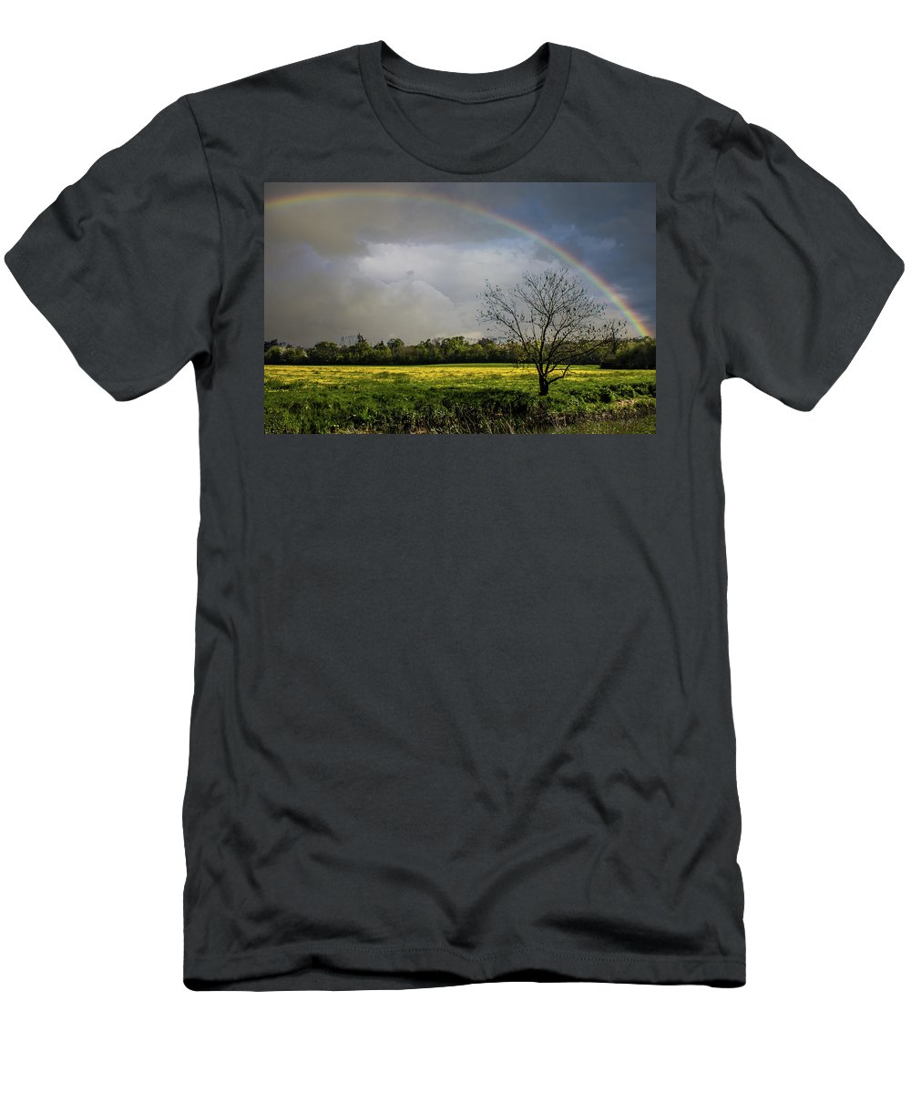 Rainbow Men's T-Shirt (Athletic Fit) featuring the photograph Rainbow Fields by Martin Newman