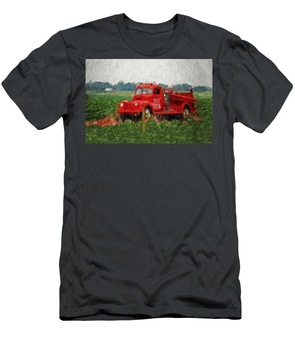 Fire Men's T-Shirt (Athletic Fit) featuring the painting Red Fire Truck by Michael Thomas