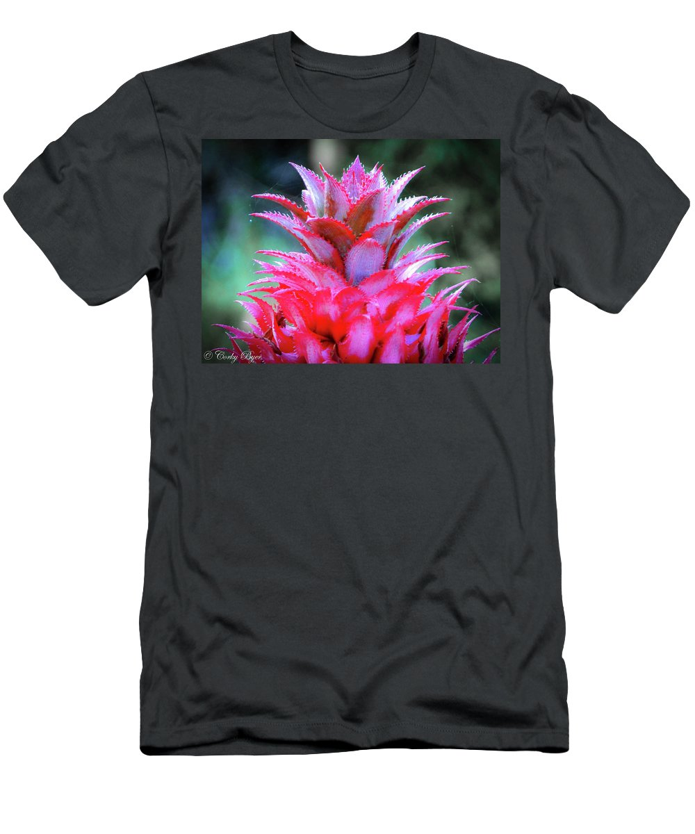 Flower Men's T-Shirt (Athletic Fit) featuring the photograph Red Pineapple by Corky Byer