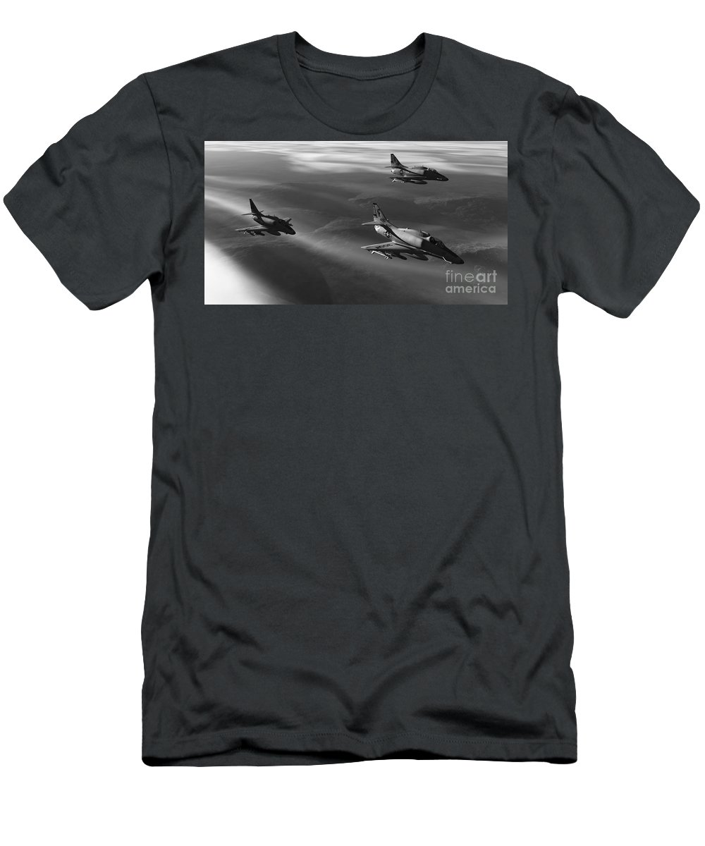Aviation Art Men's T-Shirt (Athletic Fit) featuring the digital art Rolling Thunder by Richard Rizzo