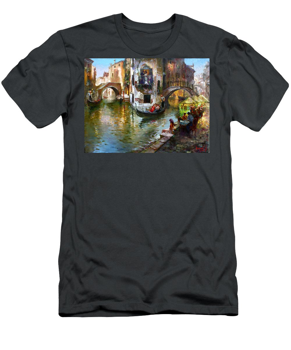 Romance In Venice Men's T-Shirt (Athletic Fit) featuring the painting Romance In Venice by Ylli Haruni