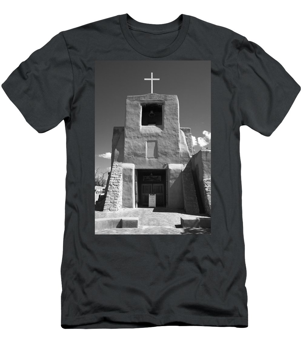 66 Men's T-Shirt (Athletic Fit) featuring the photograph Santa Fe - San Miguel Chapel by Frank Romeo