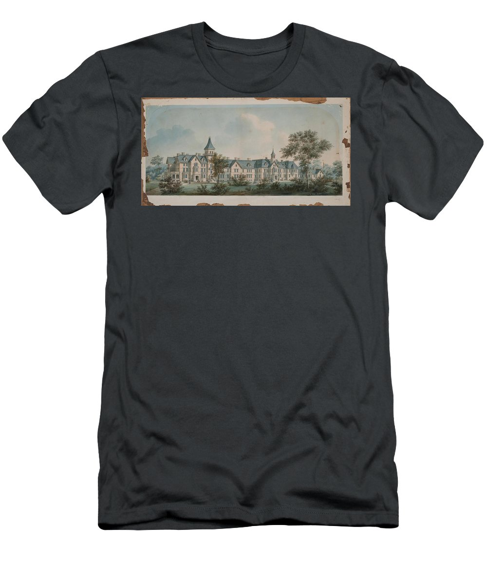 Sheppard Asylum 1860 Men's T-Shirt (Athletic Fit) featuring the painting Sheppard Asylum by MotionAge Designs