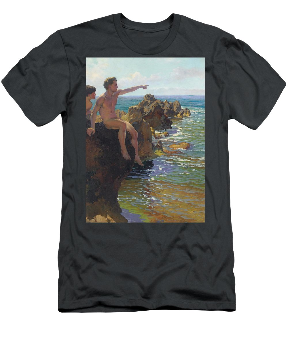 Sea Men's T-Shirt (Athletic Fit) featuring the painting Ship Ahoy by Paul Von Spaun