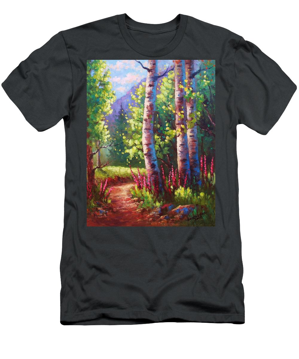 Aspen Men's T-Shirt (Athletic Fit) featuring the painting Spring Path by David G Paul