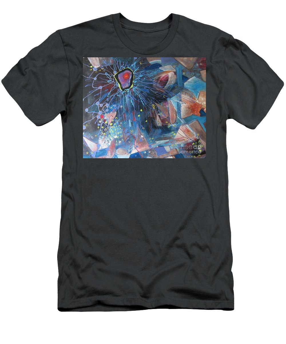 Abstract Paintings Men's T-Shirt (Athletic Fit) featuring the painting Storm At Sea by Seon-Jeong Kim