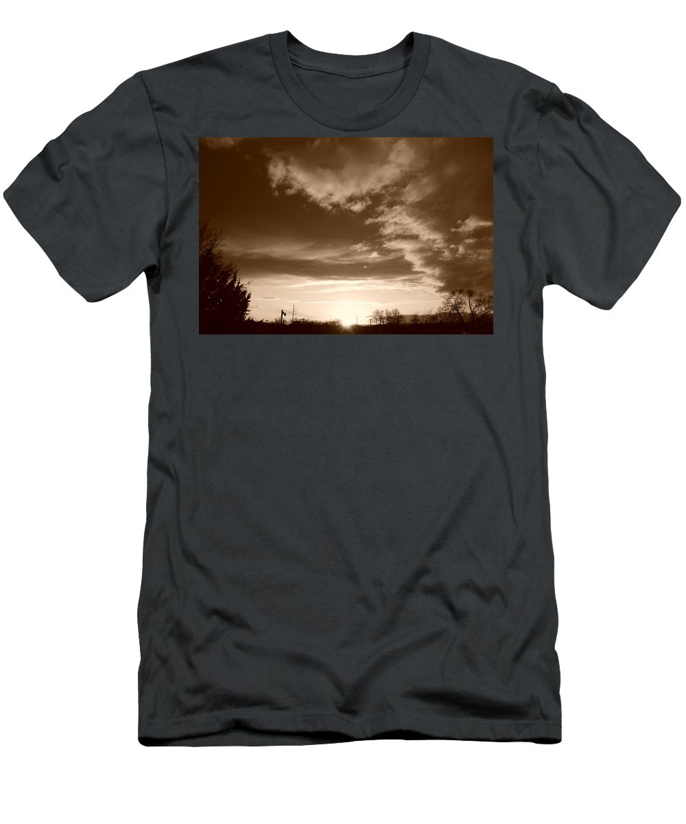 Sunset Men's T-Shirt (Athletic Fit) featuring the photograph Sunset And Clouds by Rob Hans