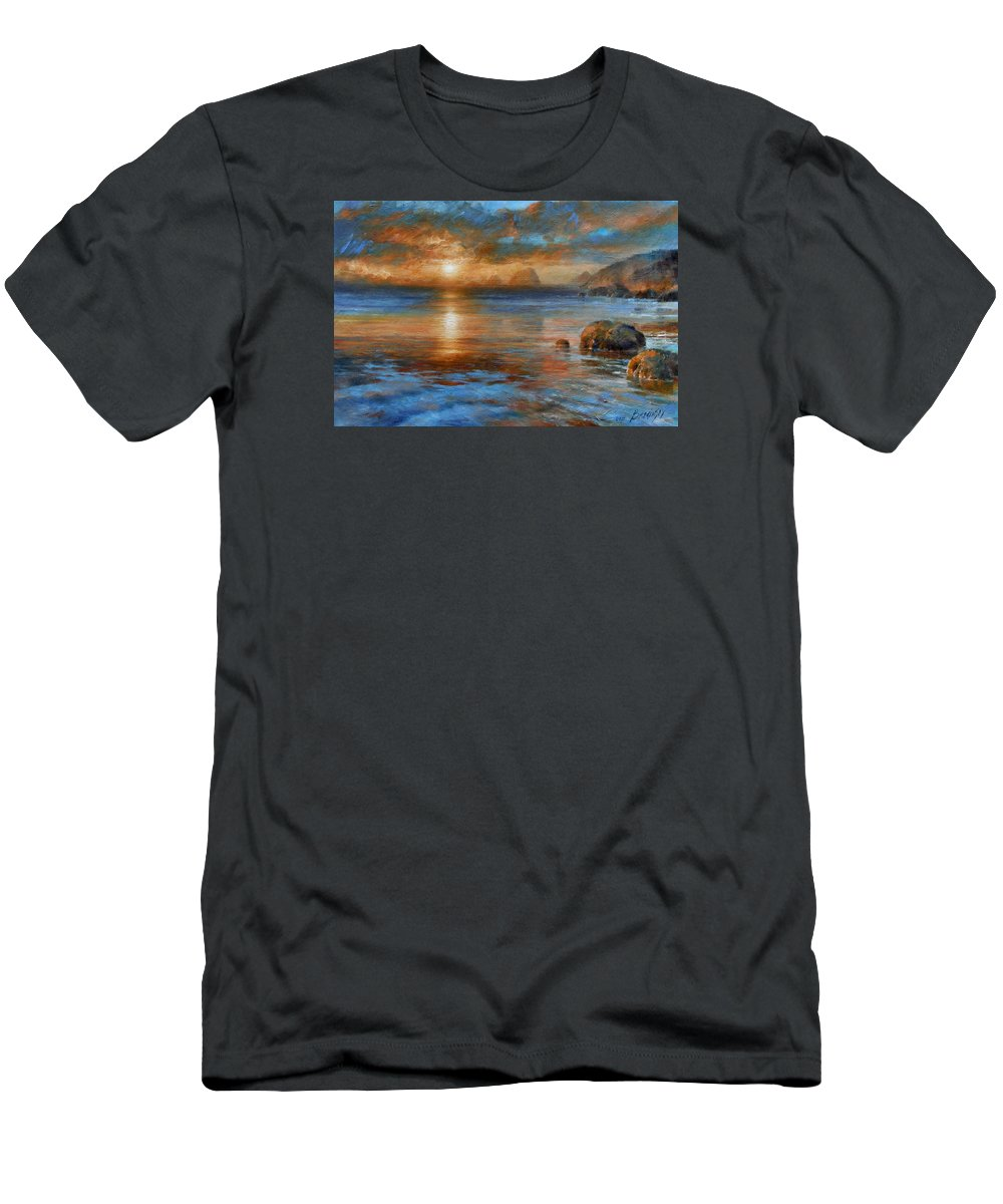 Landscape Men's T-Shirt (Athletic Fit) featuring the painting Sunset by Arthur Braginsky