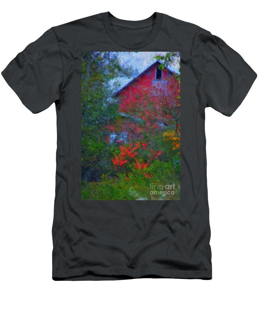 Digital Photo Men's T-Shirt (Athletic Fit) featuring the photograph The Barn by David Lane